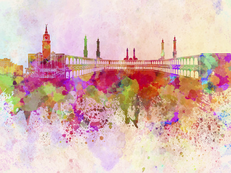 Mecca skyline in watercolor background photo
