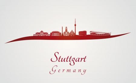 편집 가능한 벡터 파일에 빨간색과 회색 배경에서 슈투트가르트 스카이 라인 일러스트