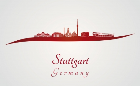 Stuttgart skyline in red and gray background in editable vector file 向量圖像