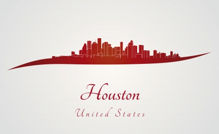 Houston skyline in red and gray background in editable vector file Vector