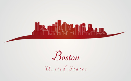 Boston skyline in red and gray background in editable vector file