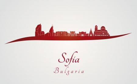 Sofia skyline in rood en grijze achtergrond in bewerkbare vector-bestand