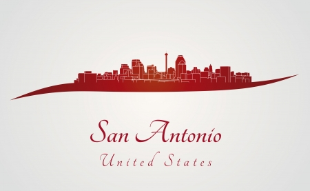 San Antonio skyline in red and gray background in editable vector file Vector