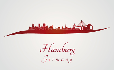 Hamburg skyline in red and gray background in editable vector file