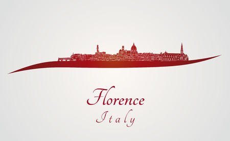 florence   italy: Florence skyline in red and gray background in editable vector file