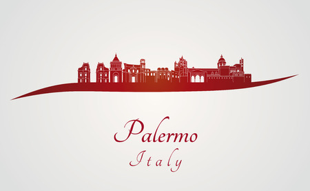 palermo: Palermo skyline in red and gray in editable file