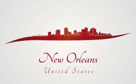 New Orleans skyline in red and gray background  Illustration