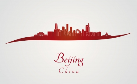 Beijing skyline in red and gray background  向量圖像