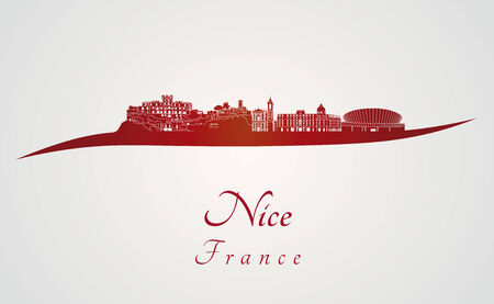 nice  france: Nice skyline in red and gray background