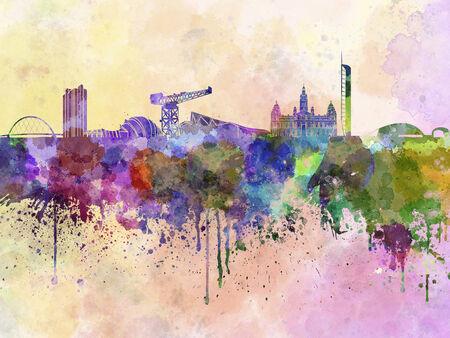 glasgow: Glasgow skyline in watercolor background