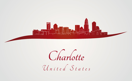 charlotte: Charlotte skyline in red and gray background in editable vector file
