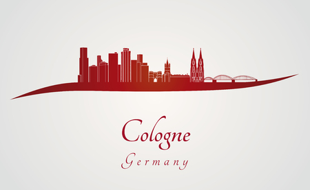 Cologne skyline in red and gray background in editable vector file