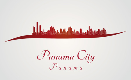 panama: Panama City skyline in red and gray background in editable vector file Illustration