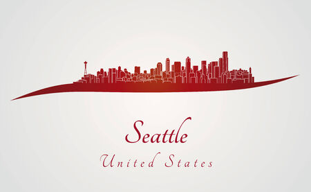seattle: Seattle skyline in red and gray background in editable vector file