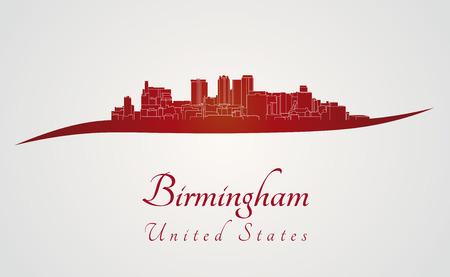 al: Birmingham AL skyline in red and gray background in editable vector file