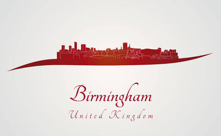 birmingham: Birmingham skyline in red and gray background in editable vector file