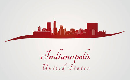 Indianapolis skyline in red and gray background in editable vector file Vector