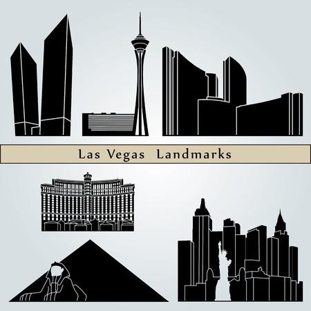 travel icon: Bezienswaardigheden en monumenten van Las Vegas op een blauwe achtergrond in bewerkbare vector-bestand