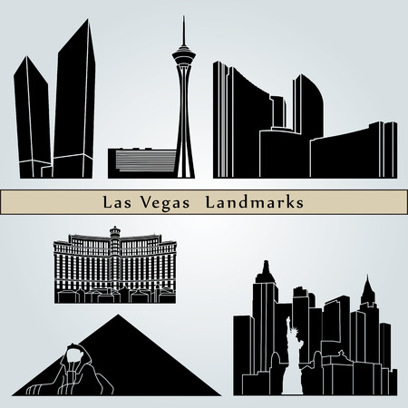 city skyline: Las Vegas landmarks and monuments isolated on blue background in editable vector file Illustration