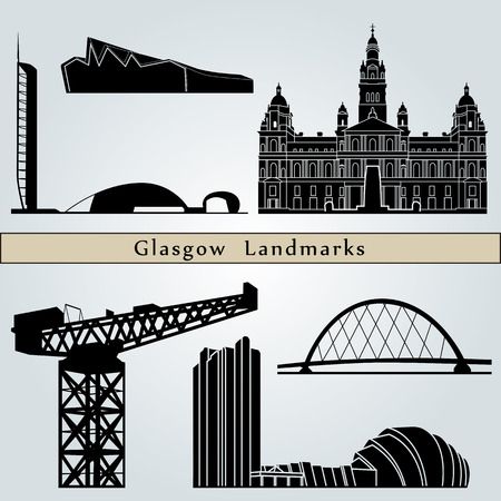 glasgow: Glasgow Landmarks and monuments isolated on blue background in editable vector file