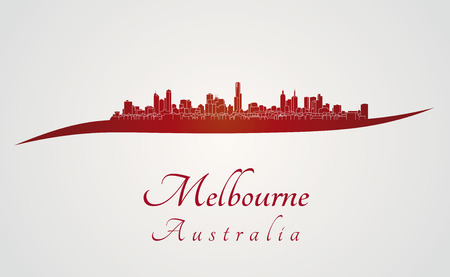 Melbourne skyline in red and gray background in editable vector file Vector