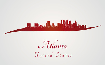 Atlanta skyline in red and gray background in editable vector file 向量圖像