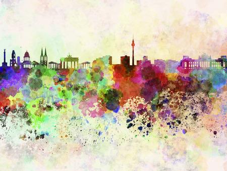 水彩画背景でベルリンのスカイライン 写真素材