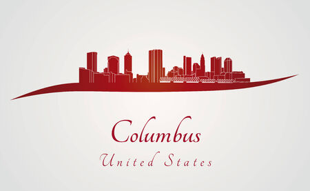 Columbus skyline in red and gray background in editable vector file Vector