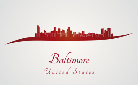 baltimore: Baltimore skyline in red and gray background in editable vector file