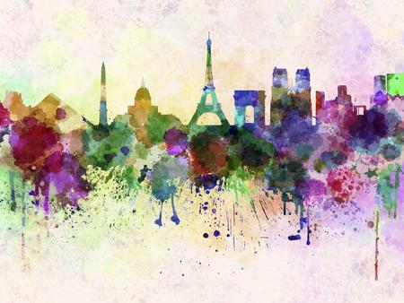 Horizonte de París en fondo de acuarela