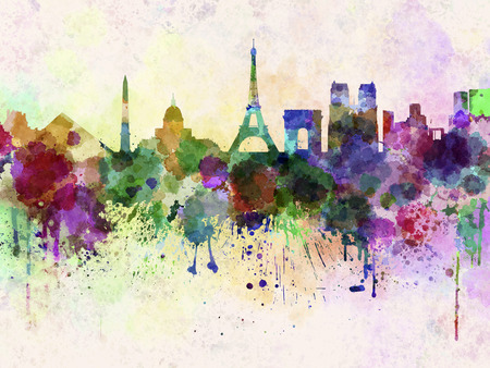 splatter: Paris skyline in watercolor background
