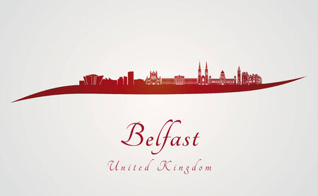 belfast: Belfast skyline in red and gray background in editable vector file