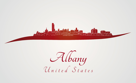 albany: Albany skyline in red and gray background in editable vector file