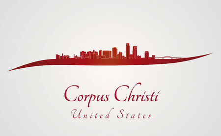 corpus: Corpus Christi skyline in red and gray background in editable vector file Illustration