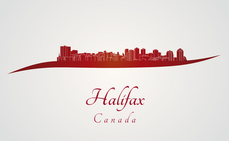 Halifax skyline in red and gray background in editable vector file