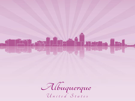 Albuquerque skyline in radiant orchid in editable vector file Vector