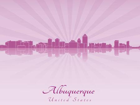 albuquerque: Albuquerque skyline in radiant orchid in editable vector file Illustration
