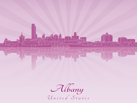 albany: Albany skyline in radiant orchid in editable vector file