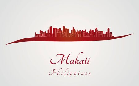 philippines: Makati skyline in red and gray background in editable vector file Illustration