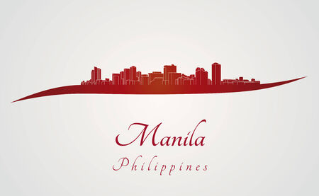 philippines: Manila skyline in red and gray background in editable vector file