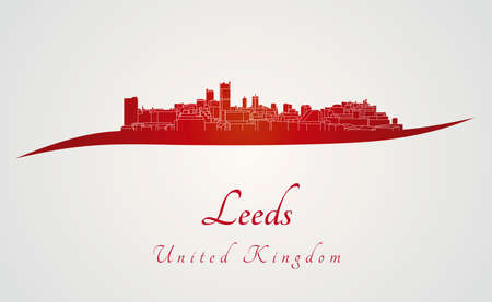 leeds: Leeds skyline in red and gray background in editable vector file Illustration