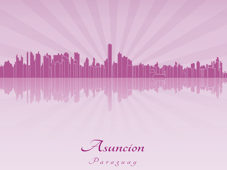 paraguay: Asuncion skyline in purple radiant orchid in editable vector file