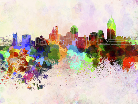 Cincinnati skyline in watercolor background Stock Photo
