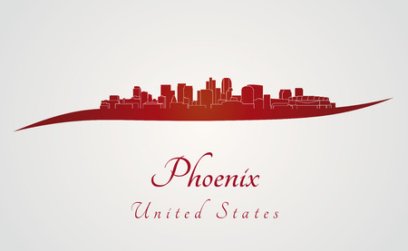 arizona: Phoenix skyline in red and gray background in editable vector file Illustration