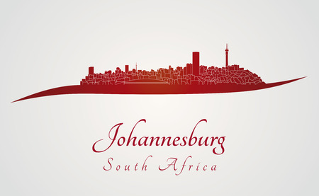 Johannesburg skyline in red and gray background in editable vector file Vector