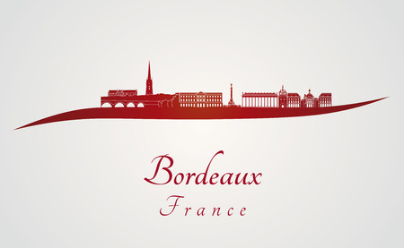 Bordeaux skyline in red and gray background in editable vector file