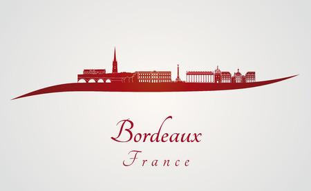 Horizonte de Burdeos, en fondo rojo y gris en el archivo vectorial editable