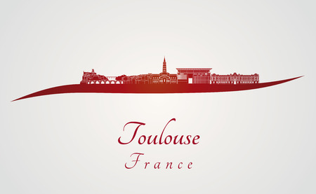 toulouse: Toulouse skyline in red and gray background in editable vector file