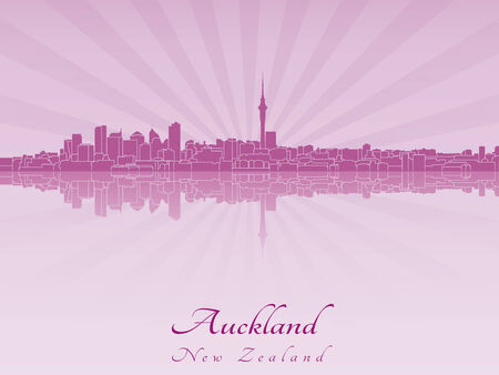 radiant: Auckland skyline in purple radiant orchid in editable