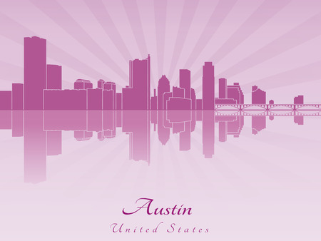 austin: Austin skyline in purple radiant orchid in editable vector file Illustration